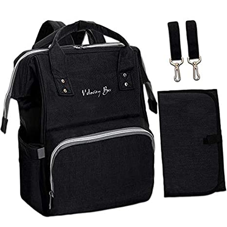 Velocity Bee Nappy Changing Backpack Bag with Changing Mat (Black) GK Products Pvt. Ltd.
