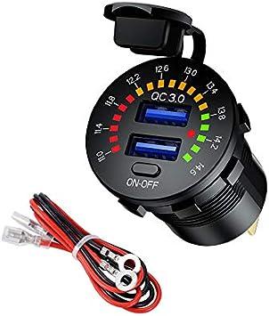 YGL Carga Rápida 3.0 Cargador de Coche Dual USB Toma USB con Voltímetro Digital en Color e Interruptor Independiente 12v / 24v para Automóviles,Camiones, Motocicletas, etc.