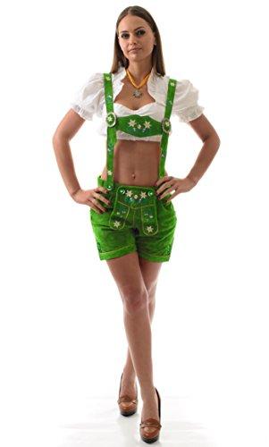 Damen Trachten Lederhose Blümli Gras - Grün Marke Achim Klein