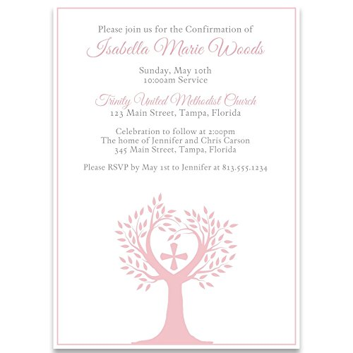 Communion Invitations, Confirmation, First Communion, Holy, Baptism, Religious, Tree of Life, Cross, New Beginnings, Blush, Pink, Girls, Girl, White, 10 Printed Invites (Cross Religious Invitations)