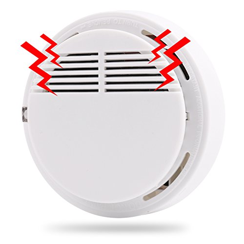 Smoke Alarms, Smoke Detector and Fire Alarm with Light Sound Warning Battery (Included) Powered Fire Safety for Home Hotel School etc Passed UL Certification
