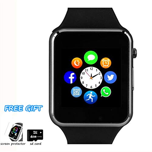 Smart Watch Phone Bluetooth Smartwatch with Pedometer TF SIM Card Slot Camera Call Text SMS Notification Compatible with iOS (Partial Function) and Android Samsung Huawei LG Phones for Men Women Kids ()