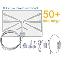 FreeAir.tv HDTV Indoor Antenna (OTA / Dual Band / VHF / UHF / Multi-directional / USB Power Supply / Detachable Cable / Premium Quality)– Super Thin, Clear, Amplified with 50+ Miles Range and TV Guide
