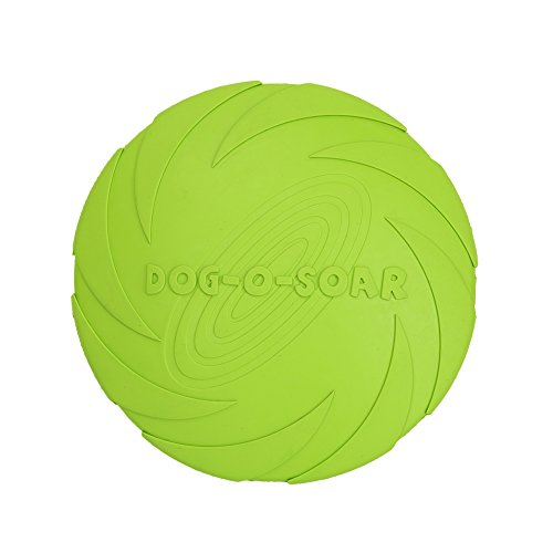 Vivifying Dog Frisbee, 7 Inch Natural Rubber Dog Flying Disc for both Land and Water (Green)