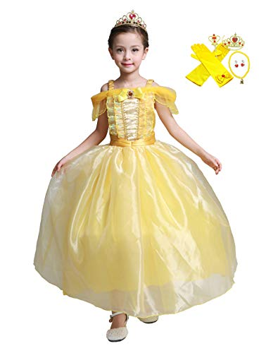 (Lito Angels Girls' Princess Belle Dress Up Beauty and the Beast Costumes Fancy Dress with Accessories Size)