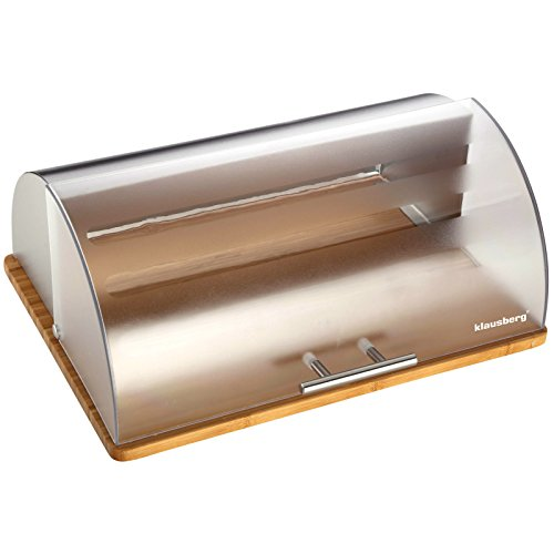Bread Bin 39x 31x 16cm with Wooden Base & Clear Cover Kinghoff