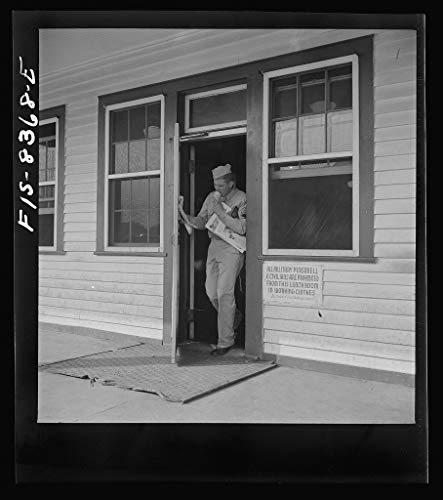 Vintography Reproduced Photo of Fort Belvoir, Virginia. Sergeant George Camblair Getting Some Magazines and an ice-Cream Cone at The Post Exchange 1942 Delano C Jack 97a