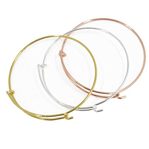 6pcs Mix Style Rose Gold/Gold/Silver Expandable Wire Bangle Bracelet for Charms Adjustable for Stacking Charm Bracelets Bracelet Blanks ()