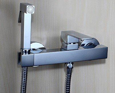 AZOS Wall Mounted Hand Held Bidet Diaper Sprayer Shattaf Toilet Sets Bathroom Chrome Polish Hot and Cold Water FXQ019