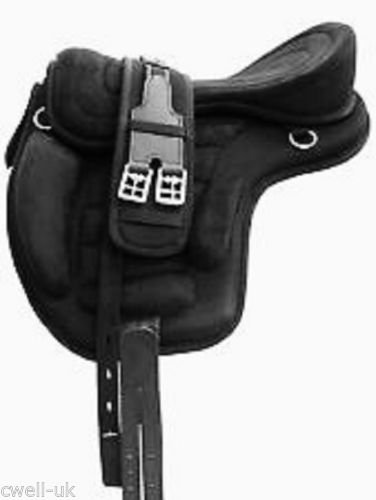 Cwell Equine New Synthetic All Purpose Treeless Saddle BLACK Sizes 16/16.5/17 17.5