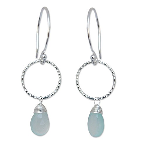 NOVICA .925 Sterling Silver and Chalcedony Gemstone Dangle Earrings, Mystic Solo' ()