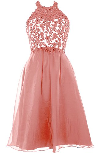 MACloth Women Halter Lace Chiffon Short Prom Dress Formal Party Evening Gown Blush Pink