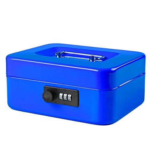 Jssmst Small Cash Box with Combination Lock - Durable Metal Cash Box with Money Tray Blue, 7.87 x 6.3 x 3.35 inches, CB0702M ()