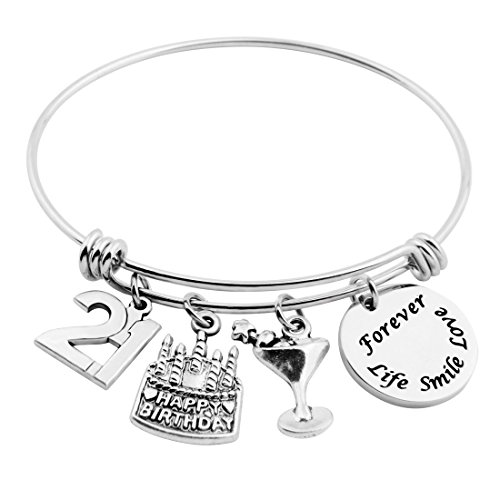 SEIRAA 21st Birthday Gifts for Her Adjustable Bangle Stainless Steel Bracelet 13th 21st 30th 40th 50th (21st Birthday)