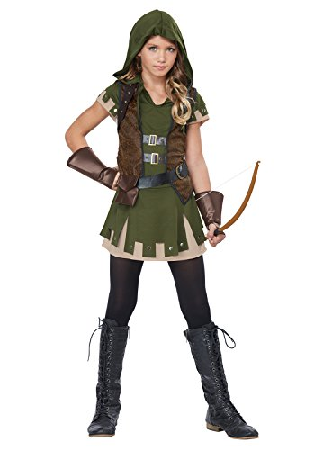 California Costumes Miss Robin Hood Costume, Olive/Brown, (Robin Child Gloves)