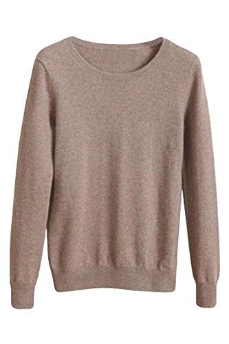 Elosele Women's Cashmere Blend Long Sleeves Slim Fit Crewneck Pullover Sweater Khaki XXXL