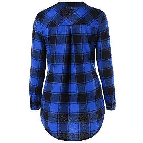 Manica Camicia Tinta V Ssmeng Collo A Blue Lunga Unita Donna YUqBYwHO