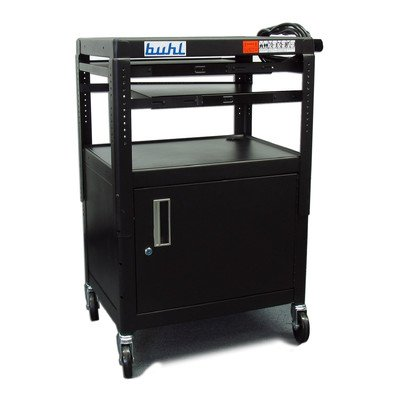 - Height Adjustable AV Media Cart with Security Cabinet - Two Pull-out Shelves