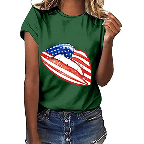 Independence Day T Shirts Women Cute Lips Printed Short Sleeve Tees Casual Summer Blouse Tops Pocciol