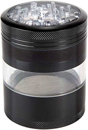 Zip Grinders Large Herb Grinder - Four Piece with Pollen Catcher - 3.25 Inches Tall - Premium Grade Aluminum (2.5', Black)