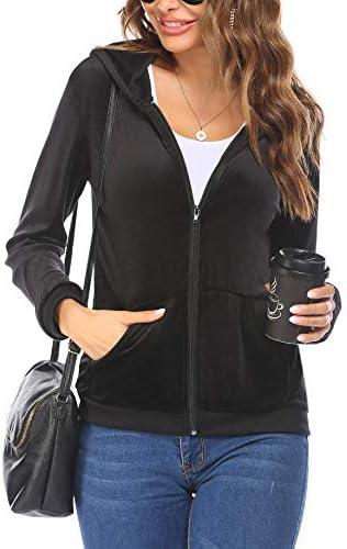 Ekouaer Women's Velour Warm Up Full Zip Hoodie Sweatshirt with Pockets S-XXL
