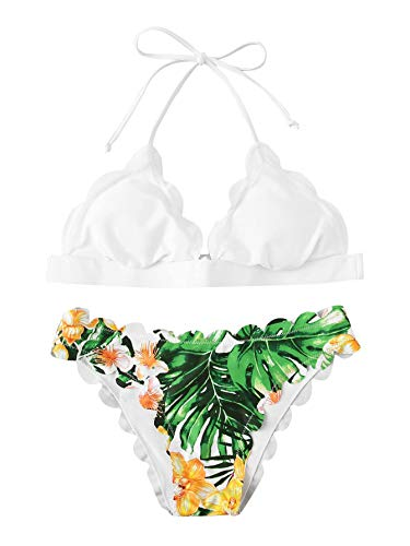 SweatyRocks Women's Sexy Bathing Suits Scallop Halter Bikini Top Floral Print Two Piece Swimsuits White#3 -