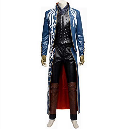 COMShow Devil May Cry 3 Vergil Cosplay Costume DMC Cosplay Leather Jacket Halloween -