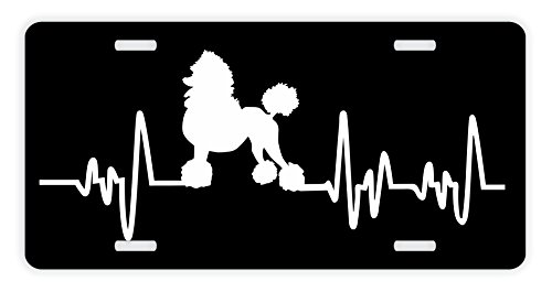 ThisWear Poodle License Plate Dog Lover Heartbeat Poodle Accessories Poodle Lovers Gifts Poodle Mom Poodle Dad Rescue Poodle Novelty License Plate Black