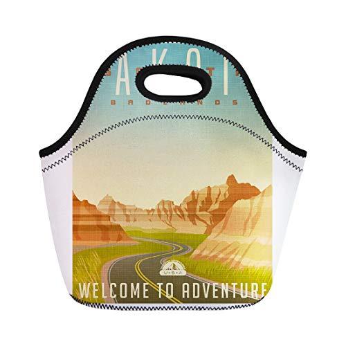 Semtomn Lunch Tote Bag Vintage Retro Travel United States South Dakota Badlands National Reusable Neoprene Insulated Thermal Outdoor Picnic Lunchbox for Men Women (Series Dakota Outdoor)