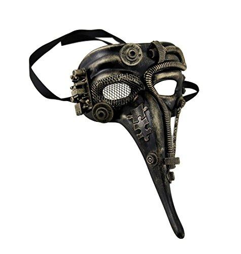 Metallic Steampunk Zanni Half Face Masquerade Mask (Victorian Face Masks)