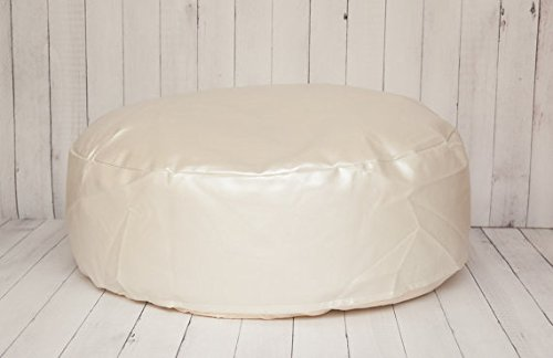 Travel Size Faux Leather Newborn Posing Bean Bag - Infant Poser Pillow -Photo Prop Not (Puck Bean Bag)