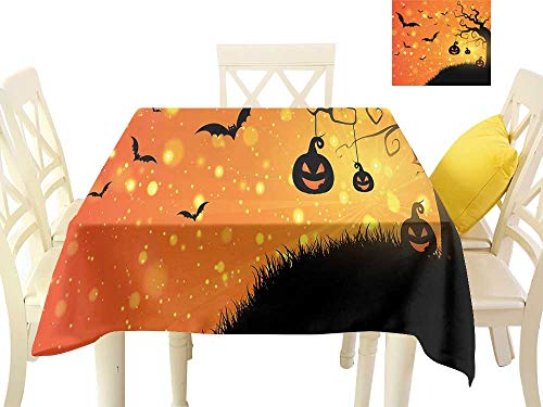 W Machine Sky Dustproof Square Tablecloth Halloween Magical Fantastic Evil Night Icons Swirled Branches Haunted Forest Hill W50 xL50 Suitable for Buffet Table, Parties, Wedding