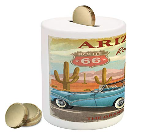 (Lunarable Route 66 Piggy Bank, Arizona Road Trip with Scenic Grand Canyon Backdrop and Cactus Plants Retro Print, Printed Ceramic Coin Bank Money Box for Cash Saving, Multicolor)