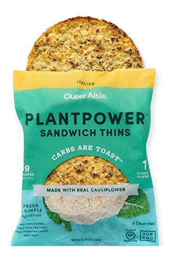 Outer Aisle Gourmet Cauliflower Sandwich Thins - Low Carb, Gluten Free, Paleo Friendly, Keto ... (Italian Thins, Pack of 4)