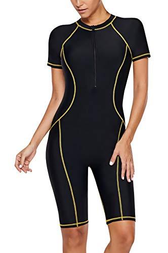 (Women Diving Suits Sport Zip Front Colorblock One Piece Surf Rash Guard Swimsuit Wetsuit 3XL)
