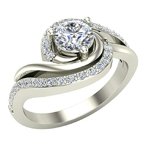 - 14K White Gold Promise Diamond Ring Ocean Wave Two-tone 0.50 Carat Total Weight (Ring Size 6.5)