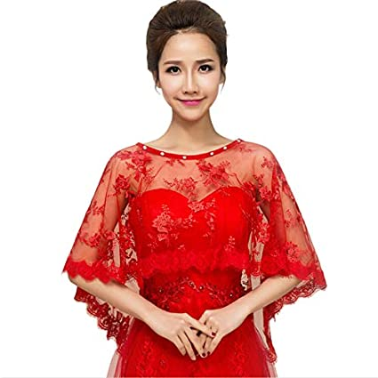 29eb600dbf644 LAAT Women's Wrap Cape Stole Shawl Bolero Jacket Evening Cape Shawl Wraps  Bridal Soft Chiffon Shawl for Summer and Spring Wedding Decoration-Red: ...