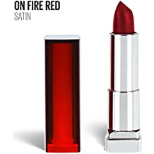 Maybelline New York Color Sensational Red Lipstick, Satin Lipstick, On Fire Red, 0.15 oz