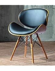folk Krzesło do salonu krzesło do jadalni krzesło biurowe designerskie sztuczna skóra z litego drewna orzechowego Eiffel wykończenie (czarne wykończenie orzech włoski)