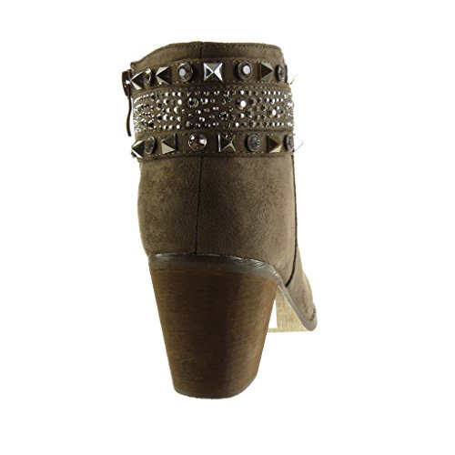 Block 7 Angkorly Strass Cavalier cm Schuhe Heel Damenmode High Schmuck Ankle Boots Booty Besetzt zqrzW7wf8