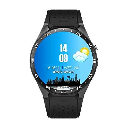 SENBONO KW88 Android 5.1 Bluetooth Smart Watch Phone with MTK6580 1.39 inch Screen 2.0MP Camera Smartwatch Heart Rate Pedometer support 3G WIFI GPS Navigation Call Phone for Android and IOS(Black) (2 Mp Bluetooth)