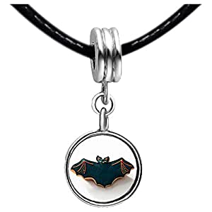 Chicforest Silver Plated Halloween bat biscuit Photo Blue Zircon Crystal December Birthstone Flower dangle Charm Beads Fits Pandora Bracelet