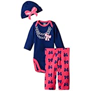 Gerber Baby-Girls Newborn 3 Piece Bodysuit Cap and Legging Set, Bows/Pearls, 6-9 Months