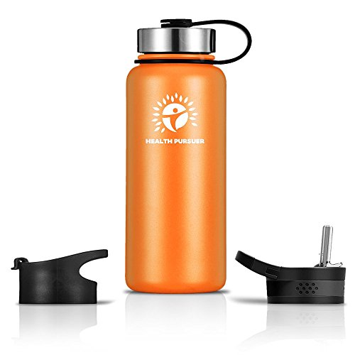 Stainless Steel Water Bottle/Thermos: ​40 Oz.​ Double Walled Vacuum Insulated Wide Mouth Travel Tumbler, Reusable BPA Free Twist Lid Bottles for Hot or Cold Liquid: Bonus Flip & Straw Lids - ​Orange