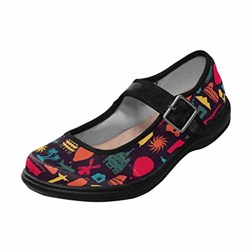 Interestprint Femmes Confort Mary Jane Appartements Casual Chaussures De Marche Multi 14