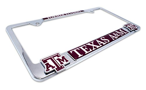 Premium All Metal NCAA TAMU Aggies Alumni License Plate Frame w/Dual 3D Logos (Texas ()