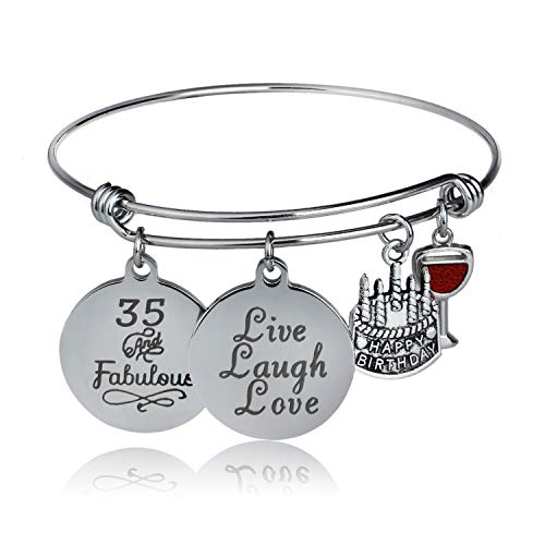 YeeQin Happy Birthday Bangles, Cake Cheer Live Laugh Love Charms Bangle Bracelets, Gifts for Her (35th Birthday)