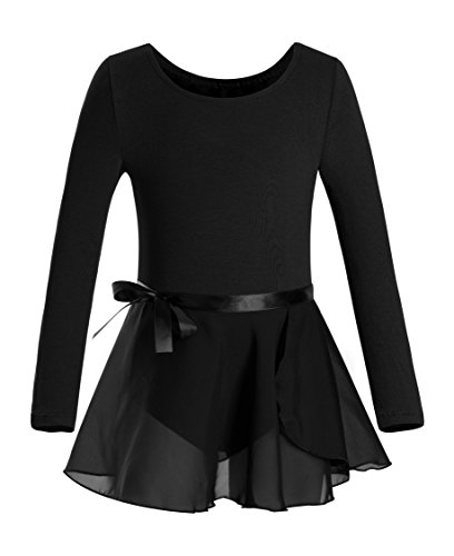 DANSHOW Girls Team Basic Long Sleeve Leotard with Skirt Kid Dance Ballet Tutu Dress (10-12, Black)