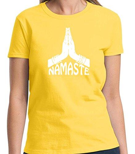 Namaste Yoga Peace Women's Tshirt Short Sleeve Allure & Grace (Small, Daisy Yellow) (Great Gatsby Daisy Dress)
