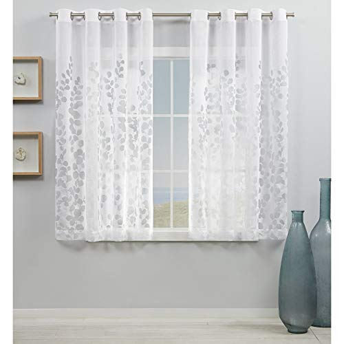 Exclusive Home Curtains Wilshire Burnout Sheer Grommet Top Curtain Panel Pair, 54x63, Winter White